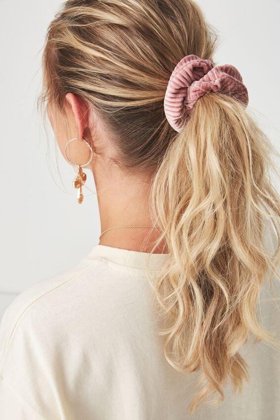 Pleated Plush Scrunchie, BLUSH