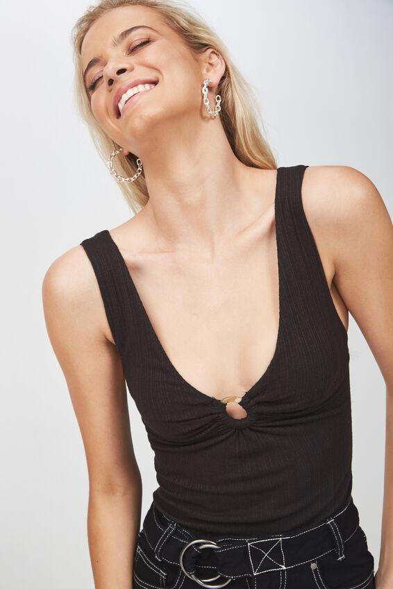 Chloe Deep V Bodysuit, BLACK