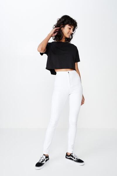 Long Super Skinny Sky High Jean, WHITE