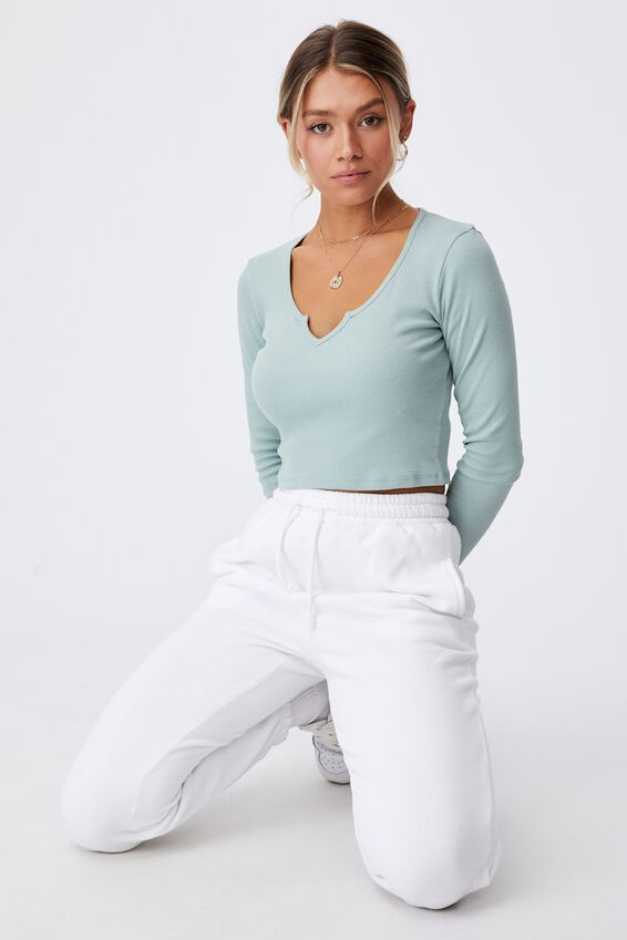 Long Sleeve Notch Front Top, SOFT MOSS GREEN