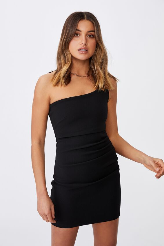 Evelyn One-Shoulder Ponte Dress, BLACK