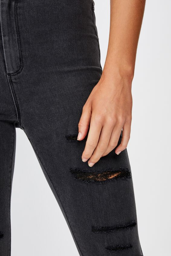 Short Super Skinny Sky High Ripped Jean, DUSTY BLACK RIPPED