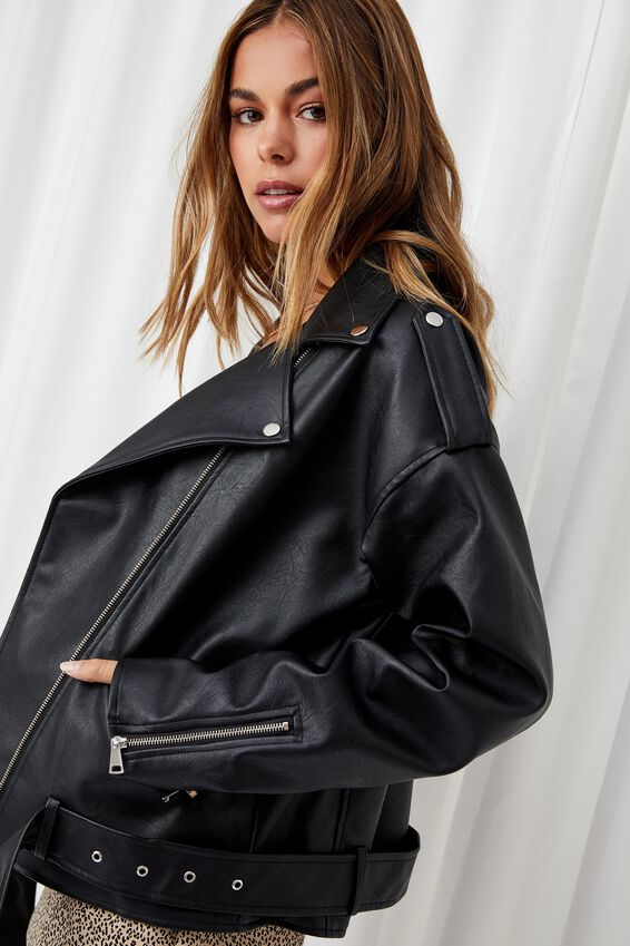 Oversized Faux Leather Biker Jacket, BLACK