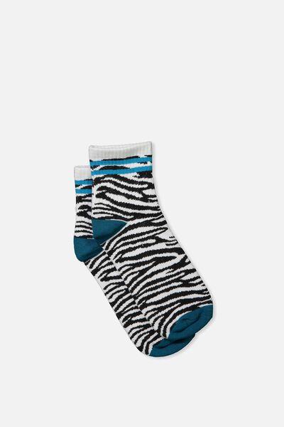 Wild Crew Socks, TEAL ZEBRA