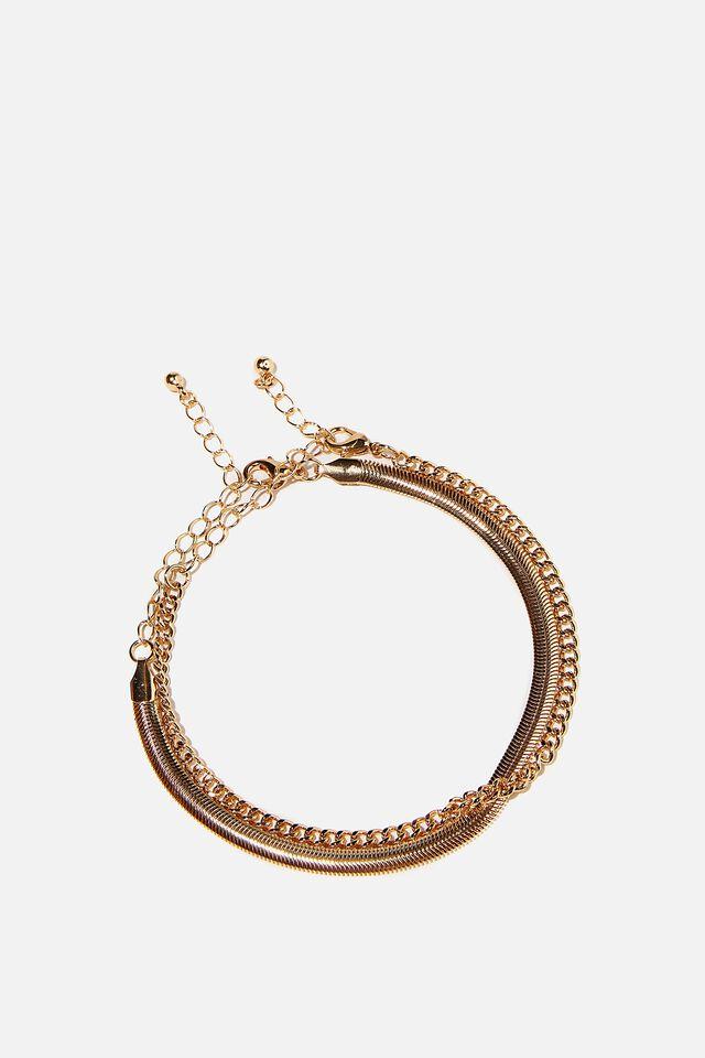 Burleigh Anklet Bracelet Set, GOLD