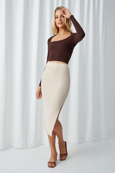 Leigh Midaxi Split Skirt, COOKIES AND CREAM
