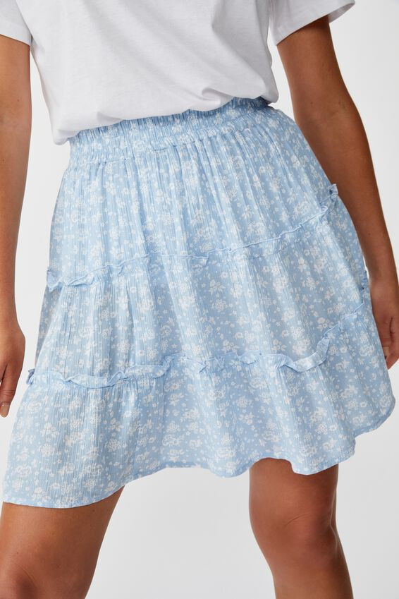 Tully Tiered Skirt, MONO WALL PAPER BLUE