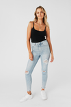 Long Leg Skinny Premium High Rise Ripped Jean, SKY BLUE