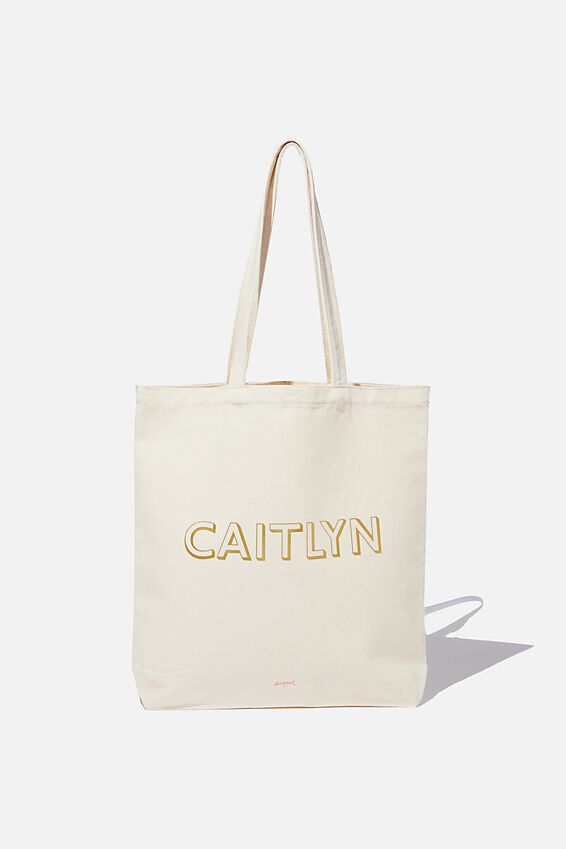 Personalised Canvas Tote Bag, NATURAL BEIGE