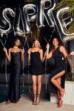 Caitlyn Cowl Neck Formal Dress, BLACK