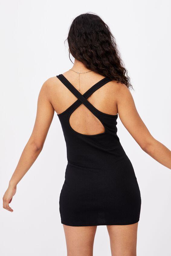 Whitney Cross Back Rib Dress, BLACK