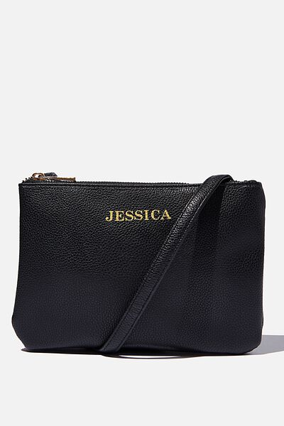 Customised Eliza Double Zip Bag, BLACK PEBBLE