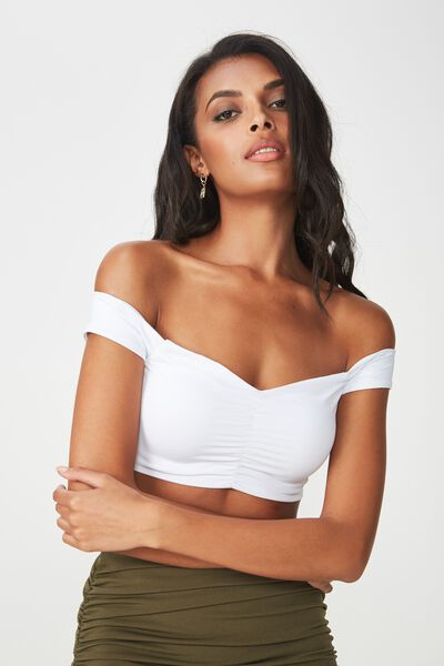 Party Gather Off Shoulder Crop, WHITE