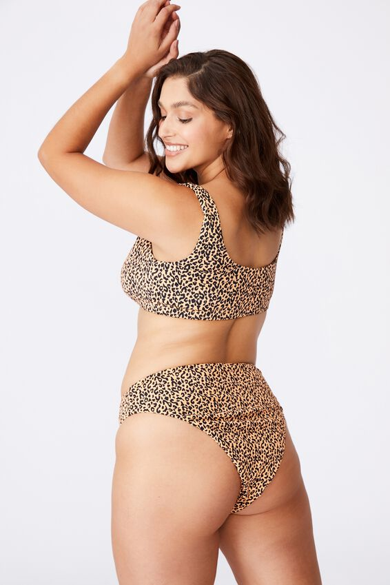 Santa Barbara High Waist Bikini Bottom, SAHARA LEOPARD/SHIRRED
