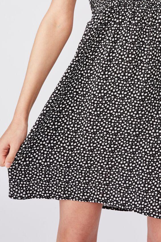 Peaches Shirred Dress, BLACK MINI DITSY