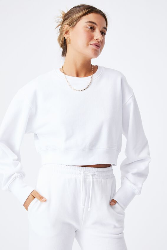 Louisa Cropped Jumper, WHITE