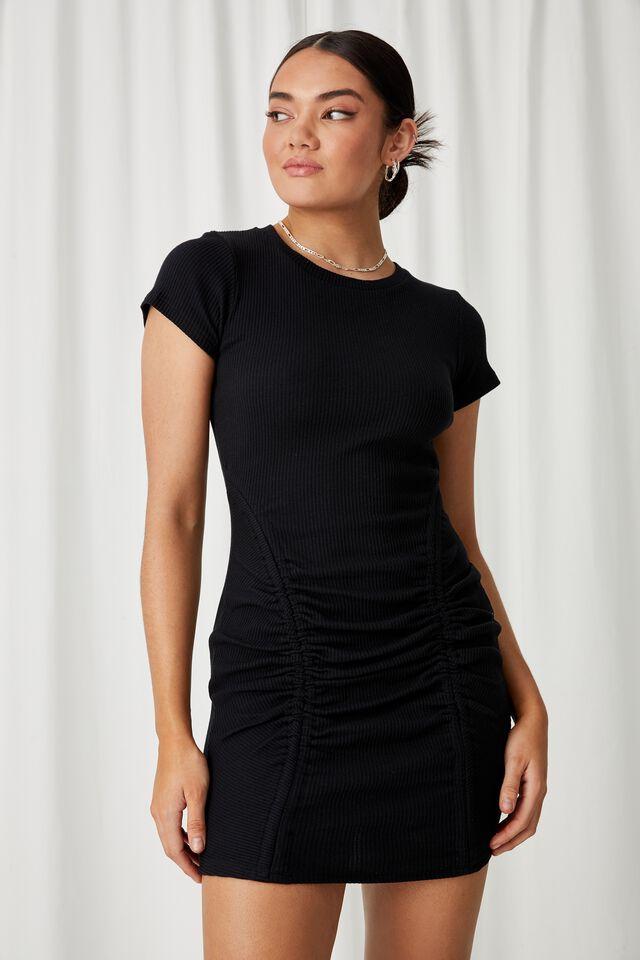 Laura Ruched Mini Dress, BLACK