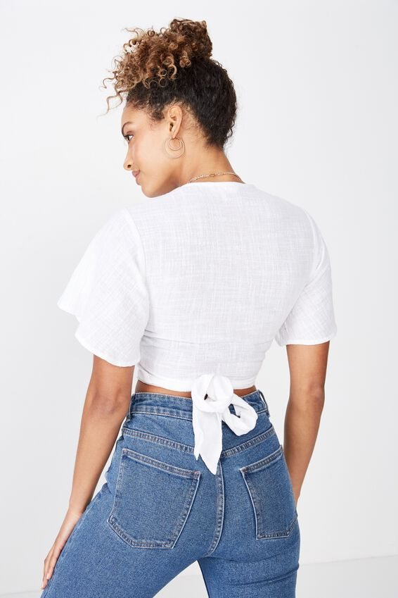 Cara Tie Front Top, WHITE