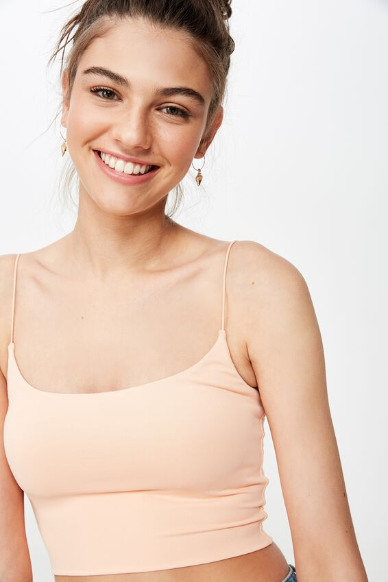 Elastic Strap Scoop Crop, PEACH NECTAR
