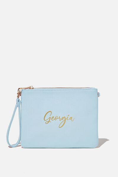 Customised Sofia Zip Pouch, PASTEL BLUE