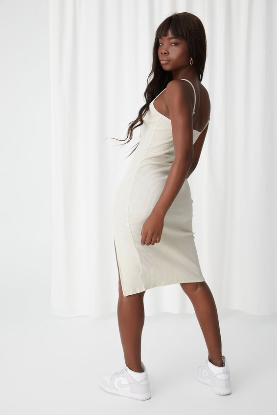 Gemma Split Midi Dress, ALMOND MILK