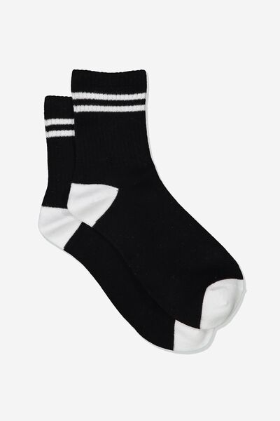 Stripe Sporty Crew Socks, BLACK/WHITE