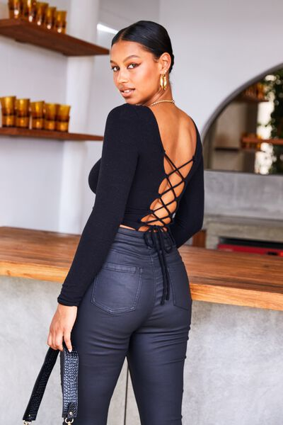 Ariana Lace Up Top, BLACK