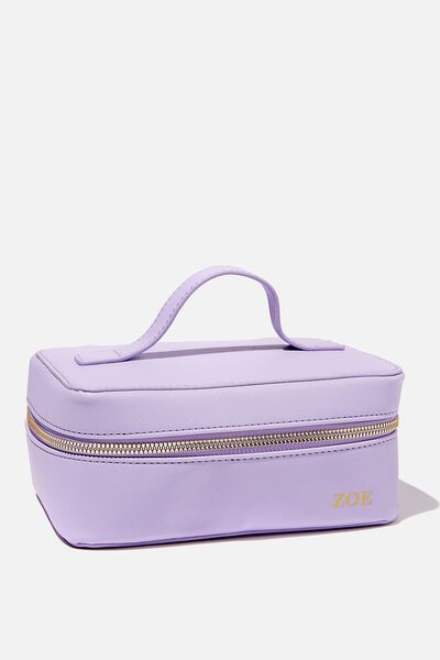 Personalised Square Cosmetic Case, LILAC BLUSH TEXTURED GOLD
