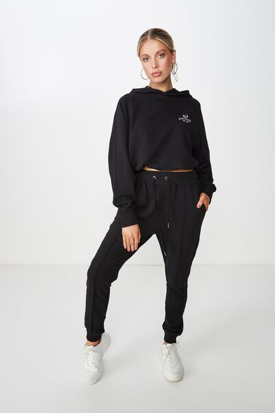 Robyn Pin Tuck Sweat Pant, BLACK
