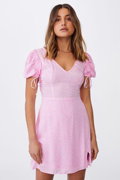 Iris Gathered Sleeve Tea Dress, CORA MONO FLORAL PINK