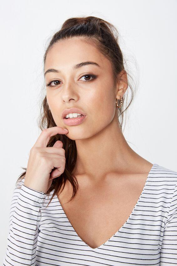 Long Sleeve V Neck Crop Top, TERI STRIPE (WHITE/BLACK)
