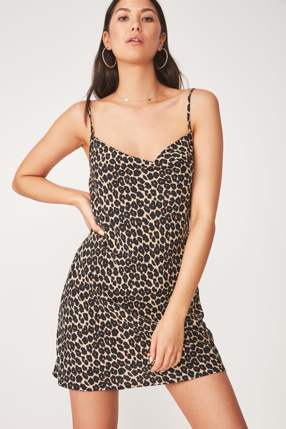 Cowl Neck Mini Dress, DIANA LEOPARD