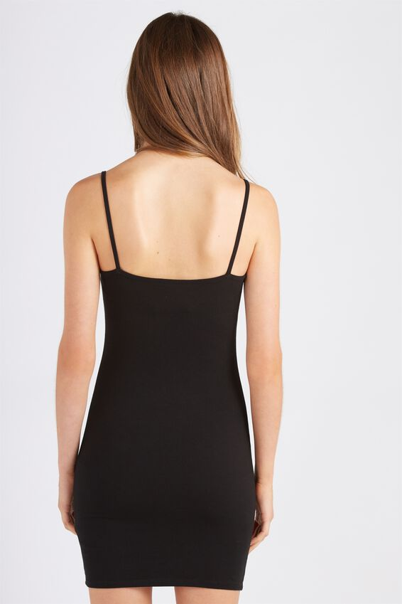 Basic Thin Strap Cami Dress, BLACK