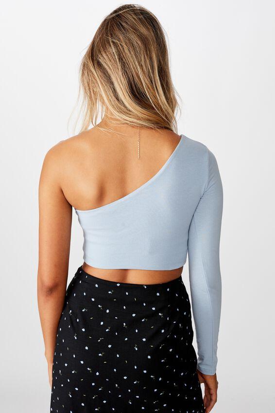 Haven One Shoulder Long Sleeve Top, BLUE RIDER