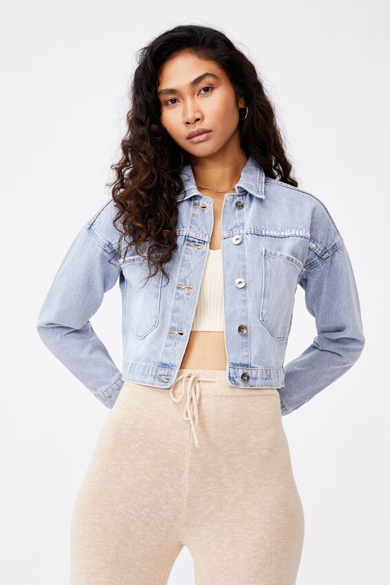 Crop Pocket Denim Jacket, VINTAGE BLUE