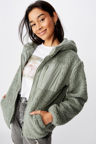 Edie Hooded Teddy Jacket, DUST KHAKI