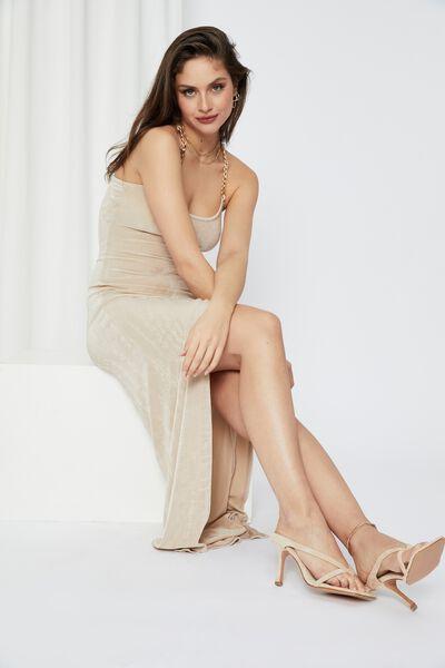 Chantel Ruched Chain Maxi Dress, BEIGE BUFF