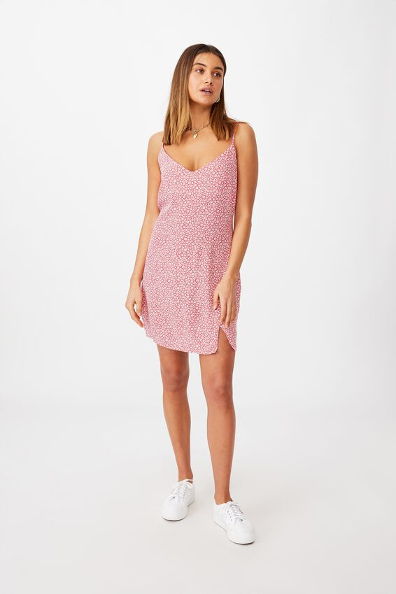 Bella Slip Dress, CORA FLORAL HIBISCUS