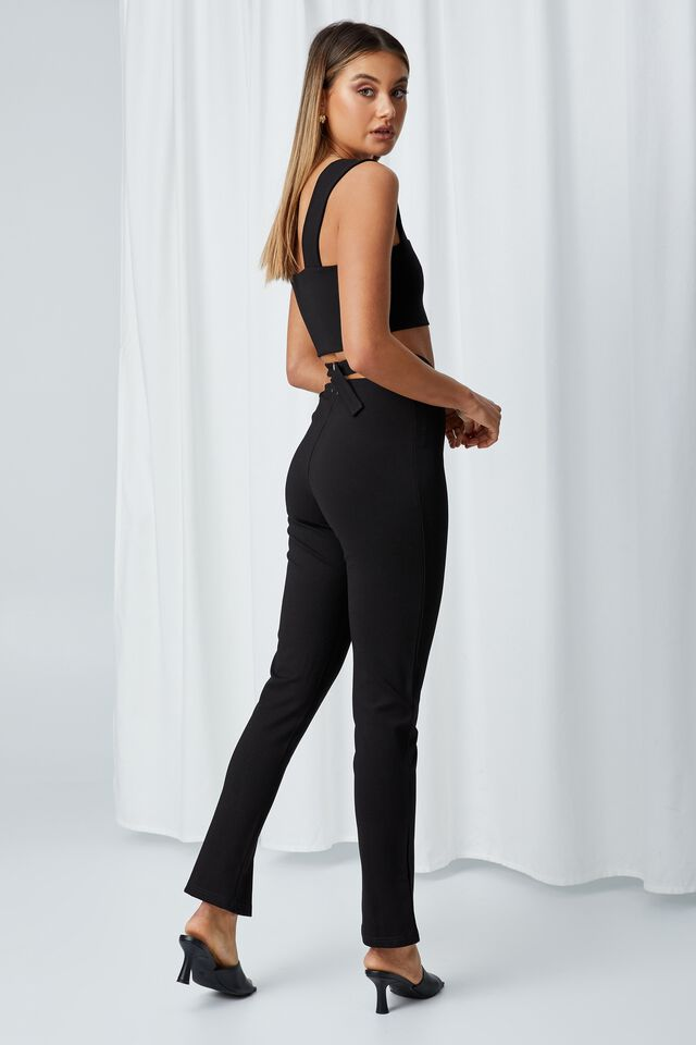 Renee Split Hem Pant, BLACK