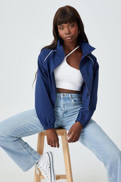 Honey Hooded Crop Shell Jacket, VARSITY BLUE