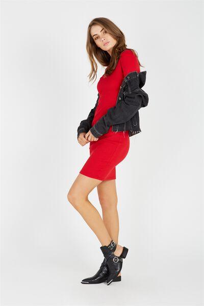 Longsleeve Rib Bodycon Dress, RED