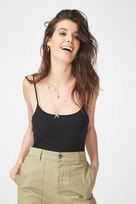 Jaimie Thin Strap Bodysuit, BLACK