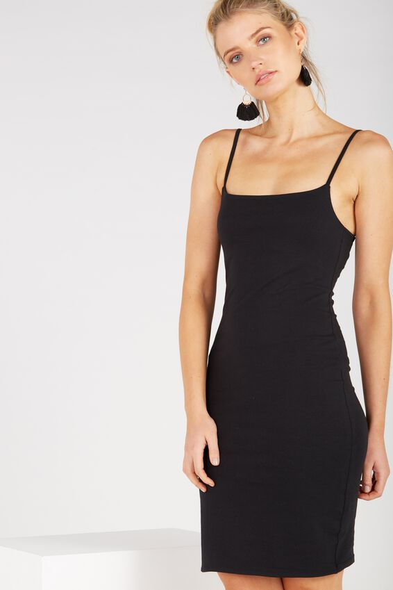 Basic Square Neck Cami Dress, BLACK