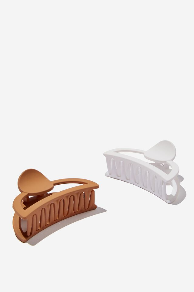 Circle 2 Pack Hair Claw, WHITE/BISCOTTI