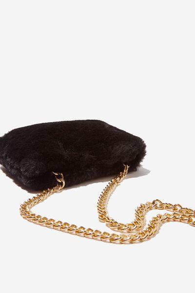 Faux Fur Shoulder Bag, BLACK