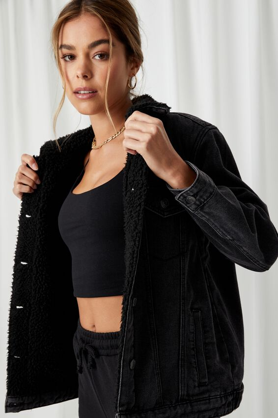 Denim Faux Sherpa Jacket, CHARCOAL BLACK