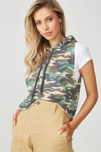 Sleeveless Graphic Hoodie Top, CAMO/PRINT