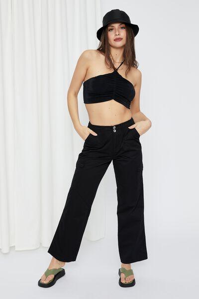 Kiara Mid Rise Cargo Pant, BLACK
