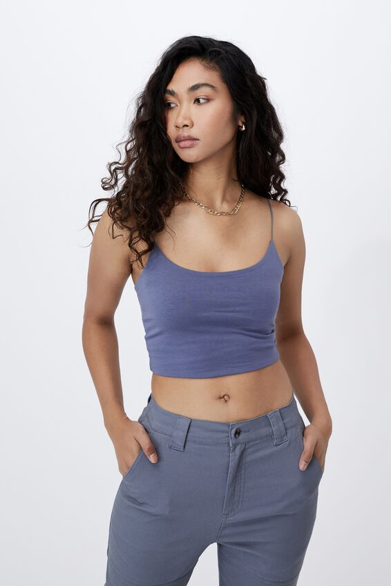 Mara Elastic Strap Crop, WASHED BLUE