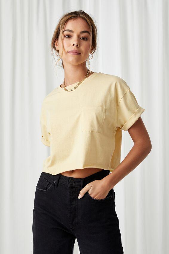 Ciara Crop T Shirt, BUTTERMILK